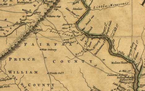 Portion of 1755 Fry and Jefferson Map updated by Dalrymple